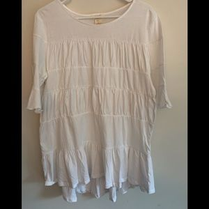 Sundance ruched layered cotton tunic top L NWOT